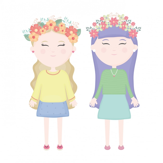 Couple of cute girls with floral crown in the hair characters Free Vector