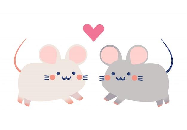 Couple cute tiny rats vector Premium Vector