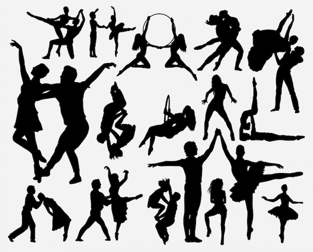 Couple dance silhouette Premium Vector