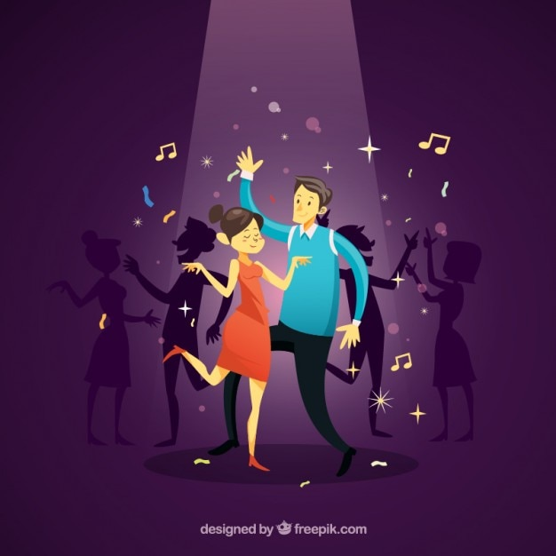 Couple dancing at the disco Free Vector