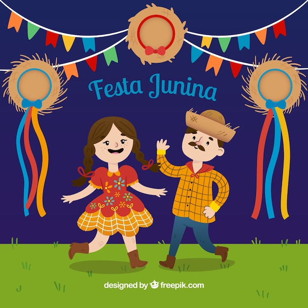 Couple dancing in festa junina\ background