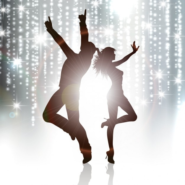 Couple dancing silhouette background Free Vector