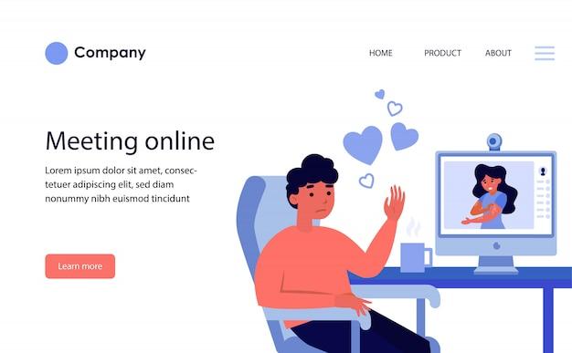 화상 통화를 통해 온라인 데이트 커플. 웹 사이트 템플릿 또는 방문 페이지 무료 벡터