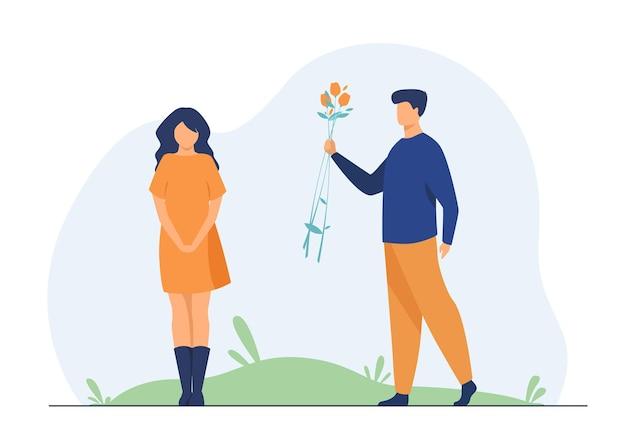 야외에서 데이트하는 커플. 여자 친구에게 꽃을주는 남자. 만화 그림 무료 벡터