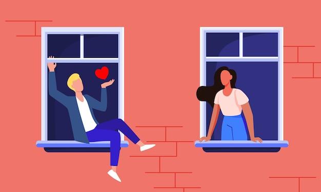 窓からデートするカップル。ファサードビュー、隣人の男と女の家に滞在し、フラットのベクトル図を話しています。ロマンス、検疫 無料ベクター