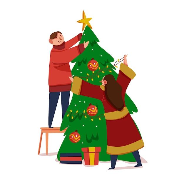 Couple decorating christmas tree Free Vector