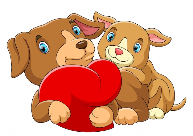 Couple dog in love with a red heart Premium Vector