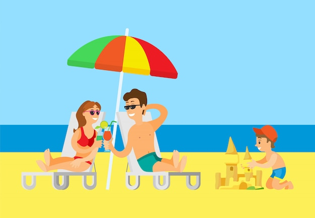 Couple drinking cocktail and kid building castle Premium Vector