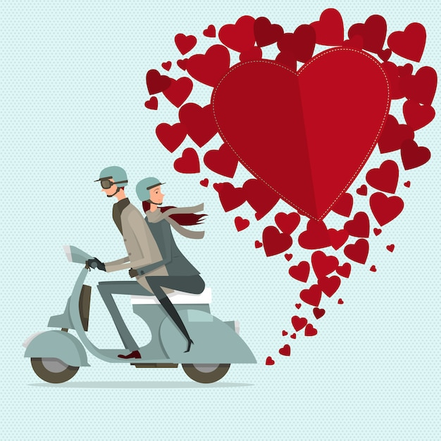 Couple driving scooter sweetheart. modern flat icon for journey. Premium Vector