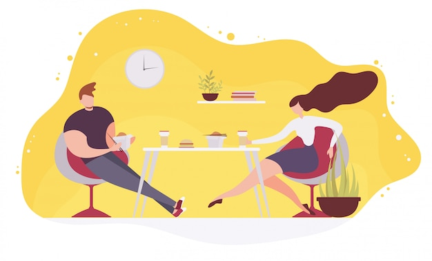 Couple eating fast food in cafe flat vector Premium Vector