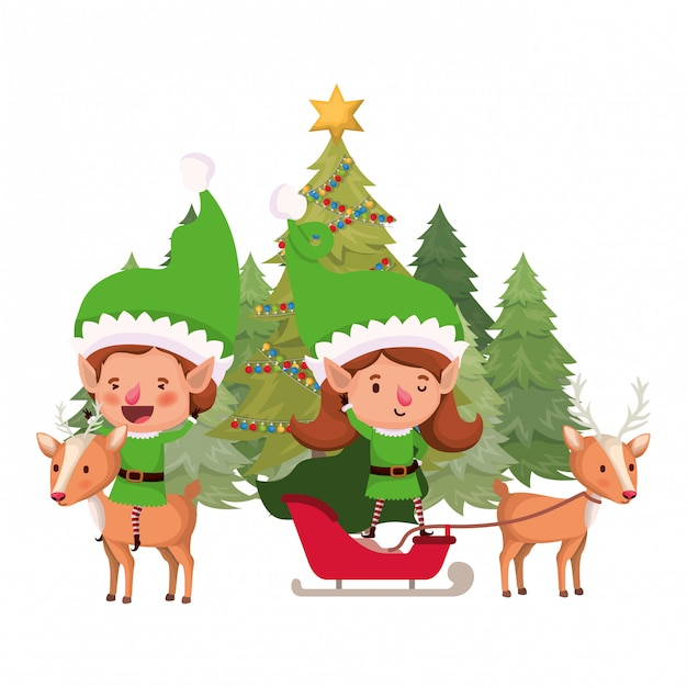 Couple of elves with christmas tree Premium Vector