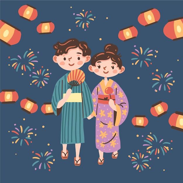 日本のお祭りを楽しむカップル 無料ベクター