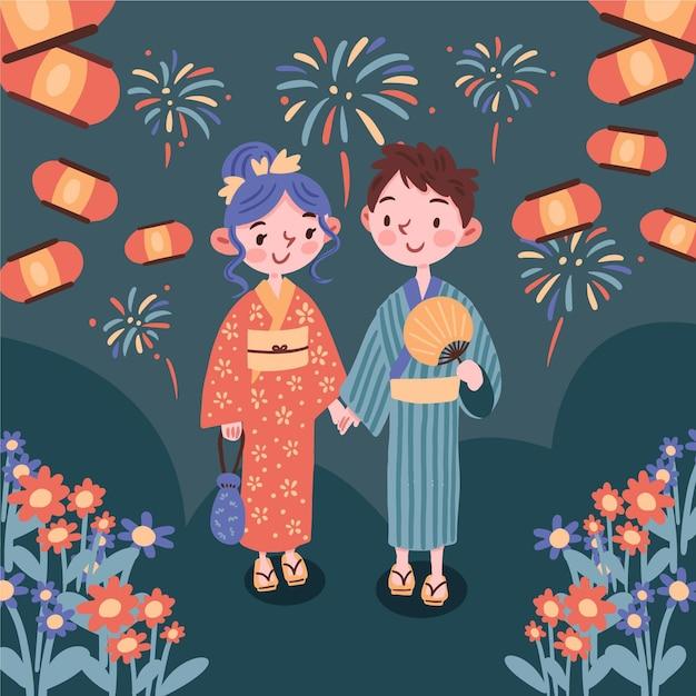 祭り日本の夏祭りを楽しむカップル 無料ベクター