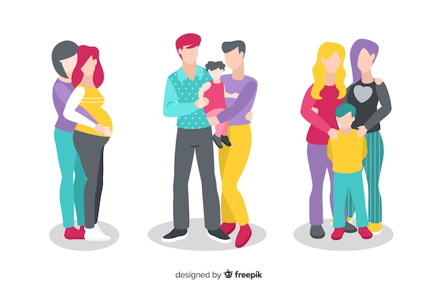 Couple and family pride day collection Free Vector