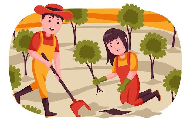 Пара фермеров копает землю для посадки растений. Premium векторы