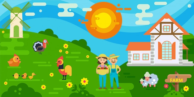 Couple of farmers with harvest  illustration. woman holding basket with fresh vegetables. farmers house, mill, sheeps, cock and chicken, turkey. Premium Vector