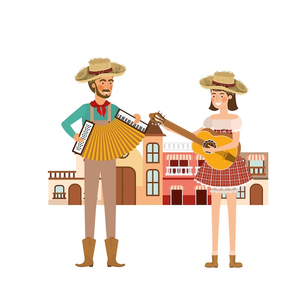 Couple farmers with houses Premium Vector