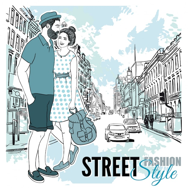 Couple fashion city street poster Free Vector