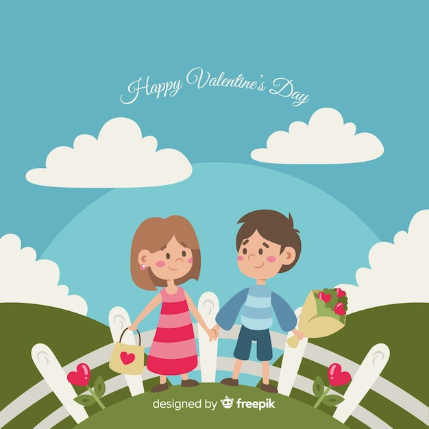 Couple in the field valentine background Free Vector