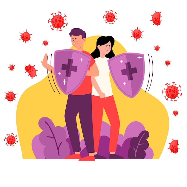 Couple fighting together against viruses Free Vector