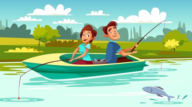 Пара рыбалка иллюстрации молодой человек и женщина в лодке с удилищем на озере Бесплатные векторы