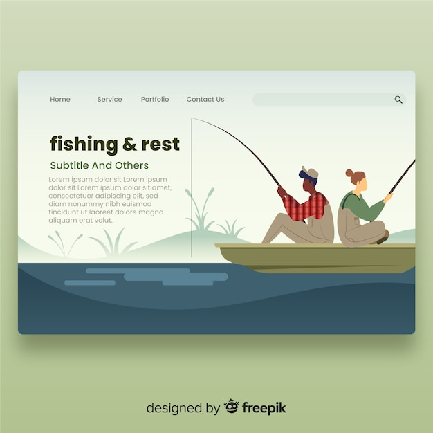 Couple fishing landing page Free Vector