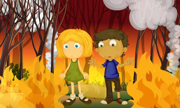 A couple in forest with wildfire Premium Vector