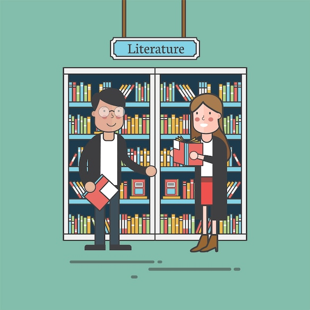 Couple of friends at literature section Free Vector