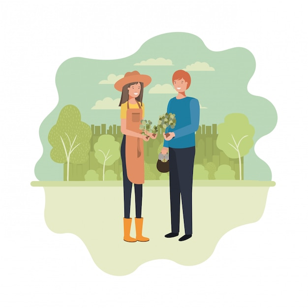 Couple of gardeners with landscape avatar character Premium Vector