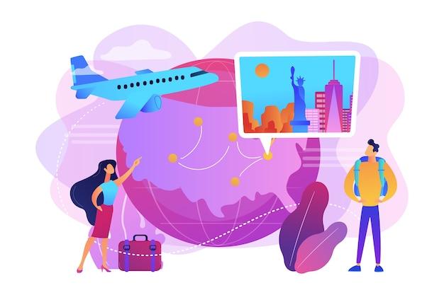 Coppia andare in vacanza vacanza illustrazione Vettore gratuito