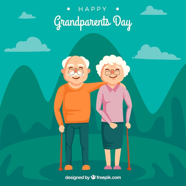 Couple of grandparents in a beautiful landscape background Free Vector
