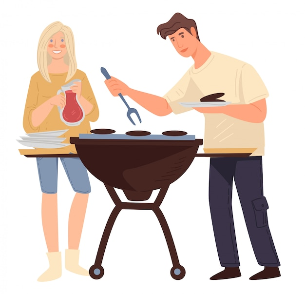 Couple grilling meat, man and woman cooking barbeque weekend Premium Vector