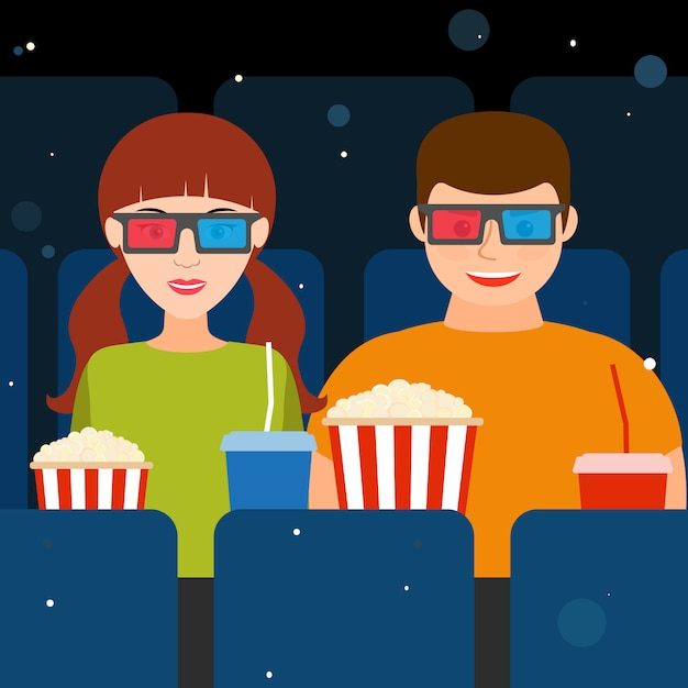 Couple, a guy and a girl at the cinema in 3d glasses with popcorn and drinks. vector illustration. Premium Vector