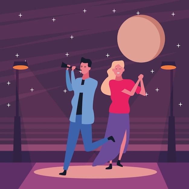 Couple having fun and dancing Premium Vector