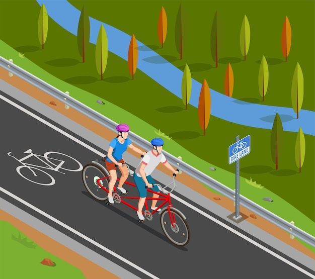 Couple in helmets during bicycle tandem trip on bike track in summer isometric composition Free Vector