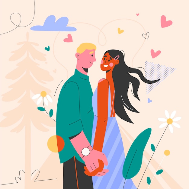 Couple holding hands and looking at each other Free Vector