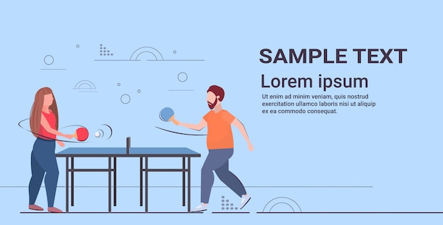 Couple holding rackets overweight man woman playing ping pong table tennis weight loss concept flat full length horizontal Premium Vector