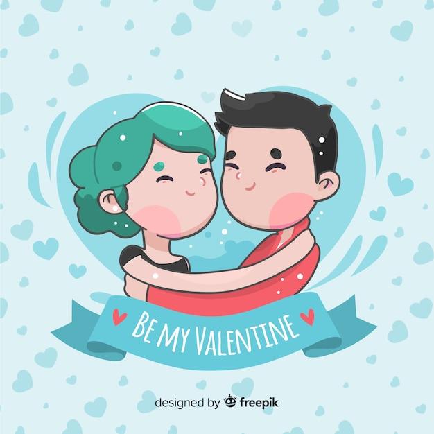 Couple hug valentine's day background Free Vector