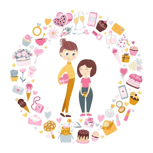 恋のカップル。背の高い男の子は女の子にバレンタインデーの贈り物をします。 Premiumベクター