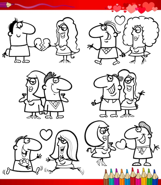 Couple in love cartoons coloring page Vector | Premium Download
