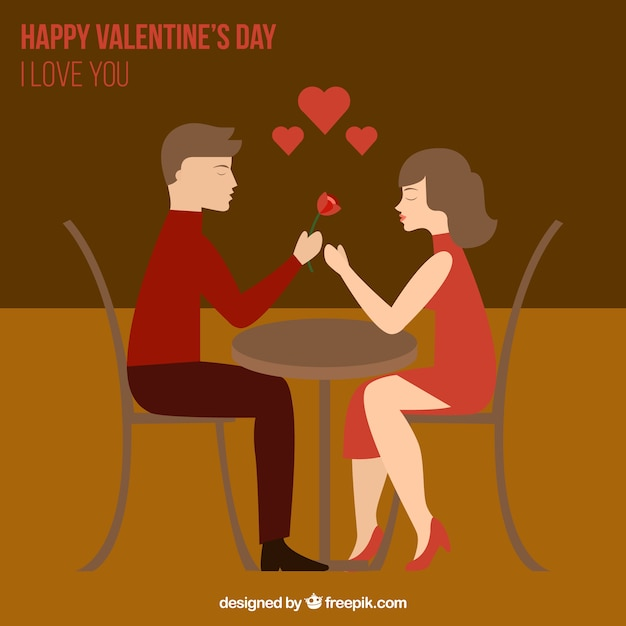 Couple In Love In Valentines Day Illustration Vector Free Download
