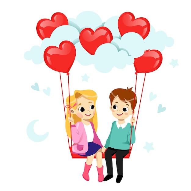 愛のカップルはいちゃつくと笑顔です。男の子と女の子はハート型の気球でスイングしています。 Premiumベクター