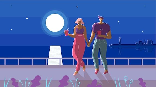 月光漫画の下で歩く愛のカップル Premiumベクター