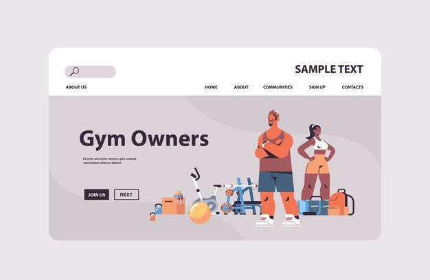 함께 서있는 다른 체육관 도구와 운동복에 부부 혼합 경주 남자 여자 개인 피트니스 트레이너 팀 건강한 라이프 스타일 개념 복사 공간 프리미엄 벡터