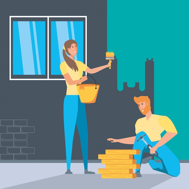 Couple in interior of house under construction Premium Vector