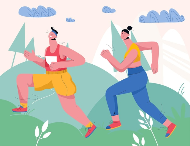 도시 공원이 나 숲에서 조깅하는 커플. 자연 풍경에서 실행하는 스포츠 유니폼 주자. 남자와 여자는 운동복 훈련 야외에서 입고. 프리미엄 벡터