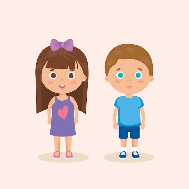 カップルの小さな子供たちのキャラクター 無料ベクター