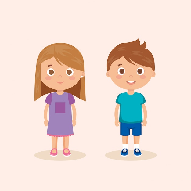 Couple little kids characters Free Vector