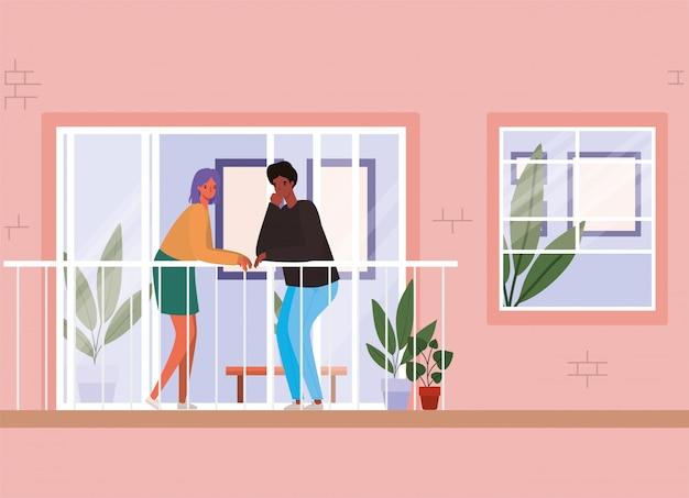 Пара смотрит в окно с балконом из розового дома дизайн, остаться дома тема иллюстрации Premium векторы