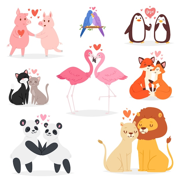Couple in love  animal lovers characters panda or cat on loving date on valentines day and flamingo kissing loved bird illustration hearted lovely set  on white background Premium Vector